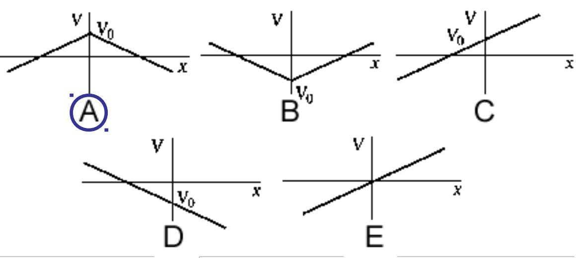 Which graph A, B, C, D, or E best represents the electric potential near an infinite