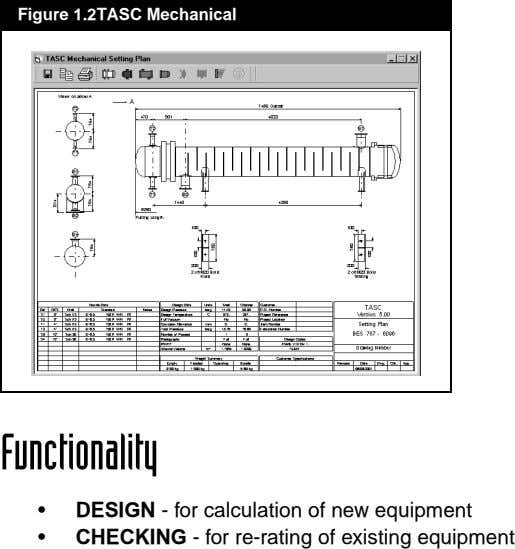 Figure 1.2TASC Mechanical Functionality • • DESIGN - for calculation of new equipment CHECKING - for