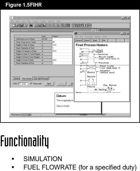 Figure 1.5FIHR Functionality • • SIMULATION FUEL FLOWRATE (for a specified duty)