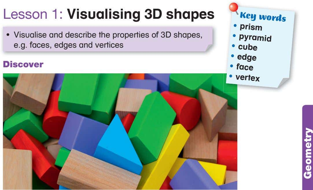 Key words • prism Lesson 1: Visualising 3D shapes • pyramid • cube • Visualise