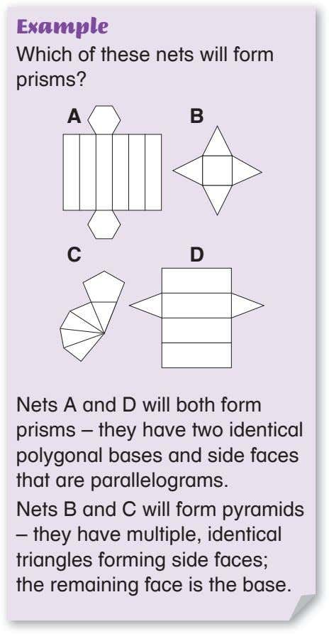 Example Which of these nets will form prisms? A B C D Nets A and