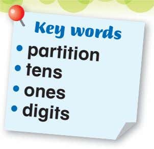 Key words • • • • partition tens ones digits