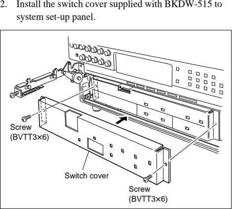 2. Install the switch cover supplied with BKDW-515 to system set-up panel. Screw (BVTT3x6) Switch