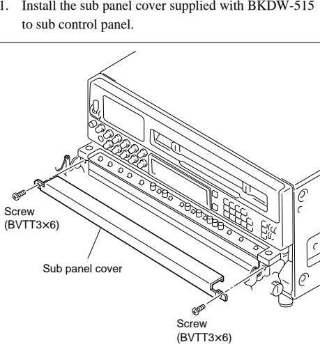 1. Install the sub panel cover supplied with BKDW-515 to sub control panel. Screw (BVTT3x6)
