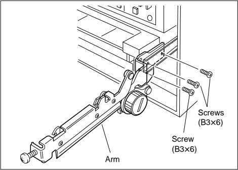 the screws as shown in Figure, and remove both side arms. Screws (B3x6) Screw (B3x6) Arm