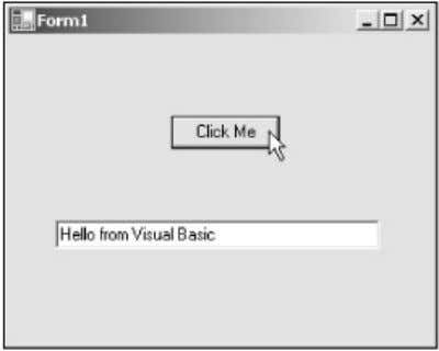 Figure 1.9: Running a Windows application. This is the magic of Visual Basic—with one line