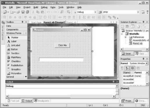 Figure 1.23: A Visual Basic application graphical designer. There are several different types of graphical