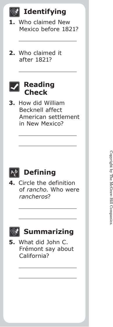 Identifying 1. Who claimed New Mexico before 1821? Copyright by The McGraw-Hill Companies. 2. Who