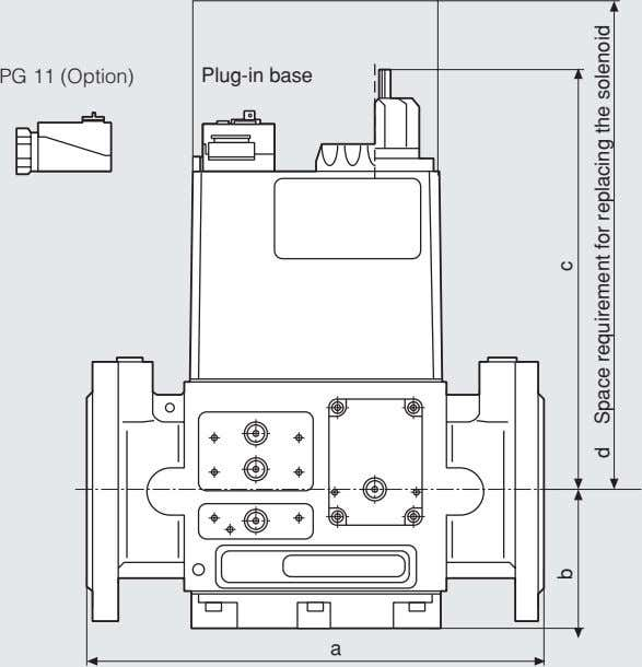 PG 11 (Option) Plug-in base a b c d Space requirement for replacing the solenoid