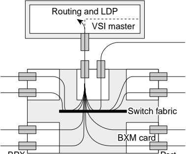 Routing and LDP VSI master Switch fabric Switch fabric BXMBXM card