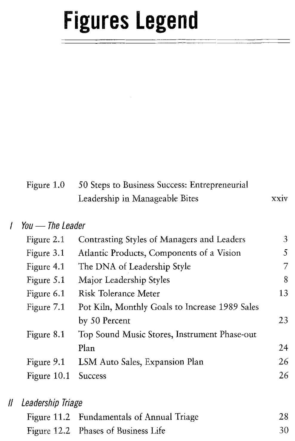 Figures Legend Figure 1.0 50 Steps to Business Success: Entrepreneurial Leadership in Manageable Bites xxiv