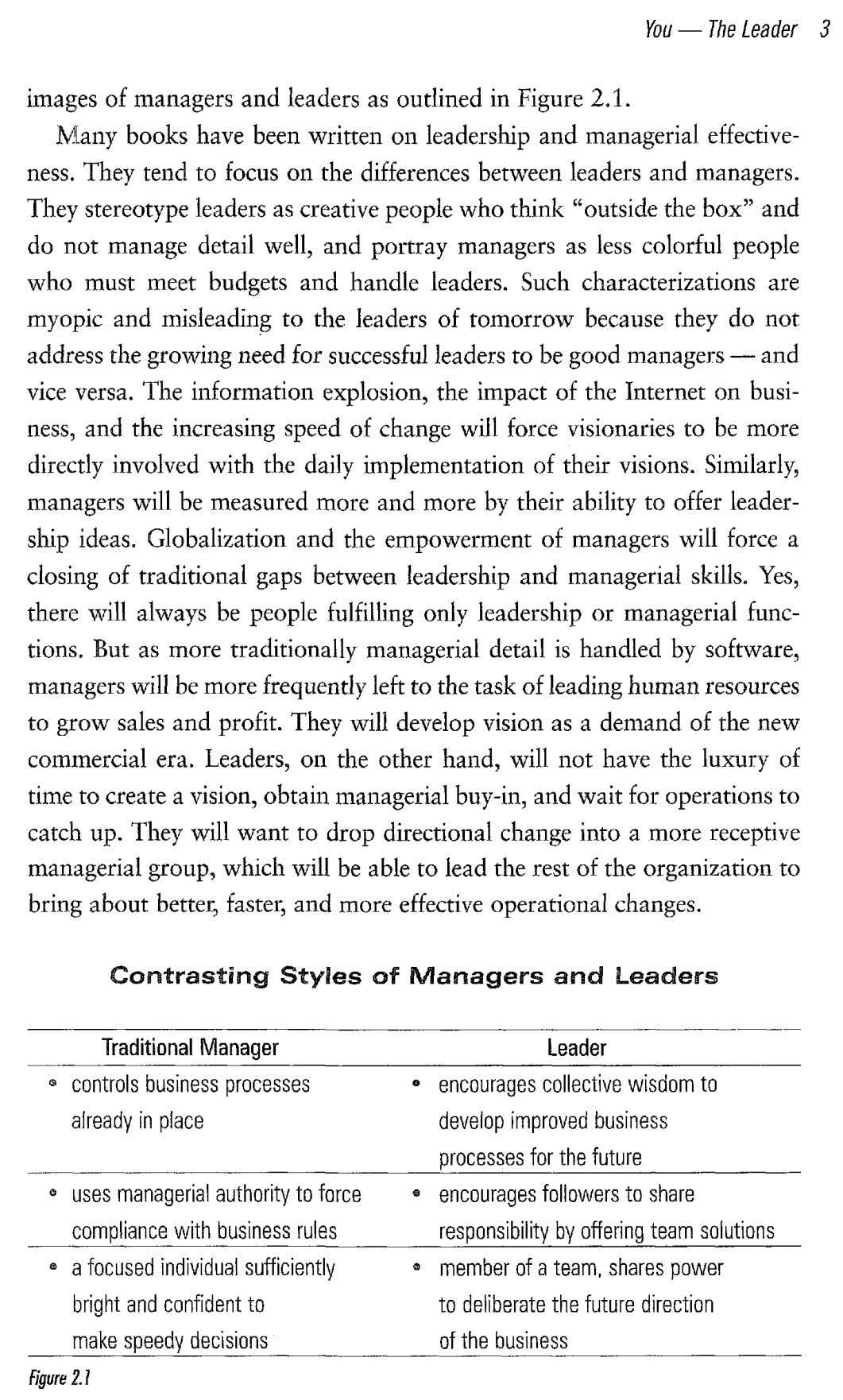 You — TheLeader 3 images of managers and leaders as outlined in Figure 2.1. Many