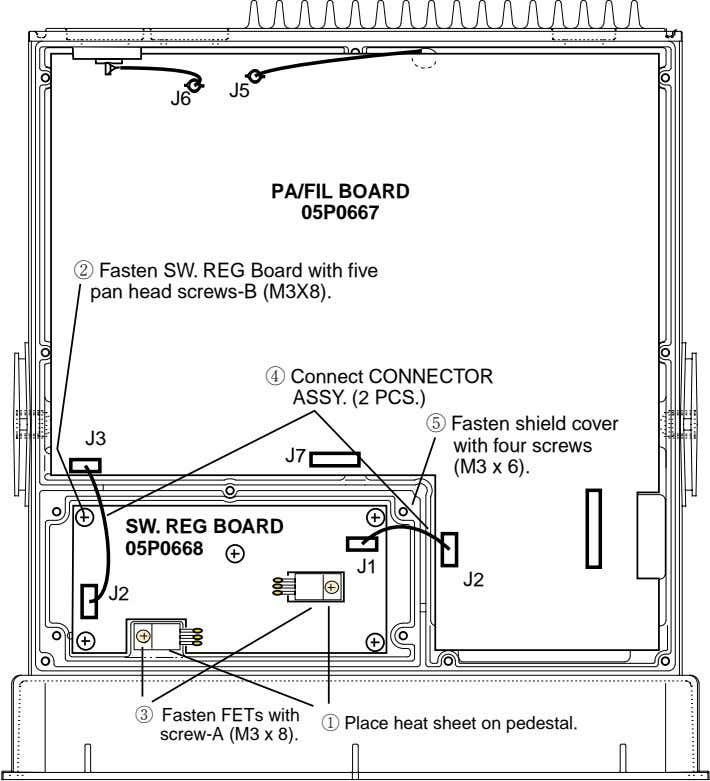J5 J6 PA/FIL BOARD 05P0667 2 Fasten SW. REG Board with five pan head screws-B