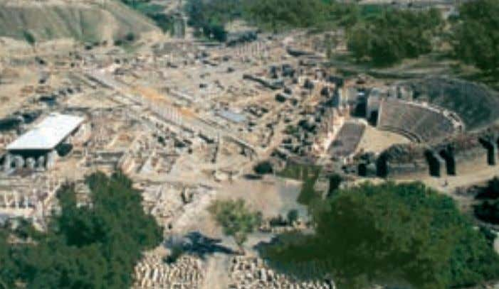 as a geographic and cultural link between east and west. Aerial view of the Beit She'an