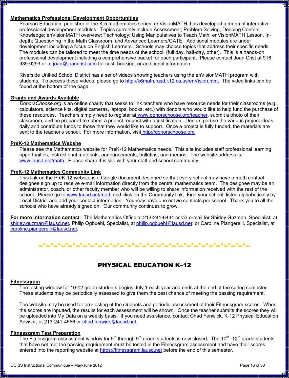 Mathematics Professional Development Opportunities Pearson Education, publisher of the K-5 mathematics series,