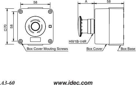 A 58 58 HW1B-V4R Box Cover Mouting Screws Box Cover Box Base A3-60 www.idec.com 70