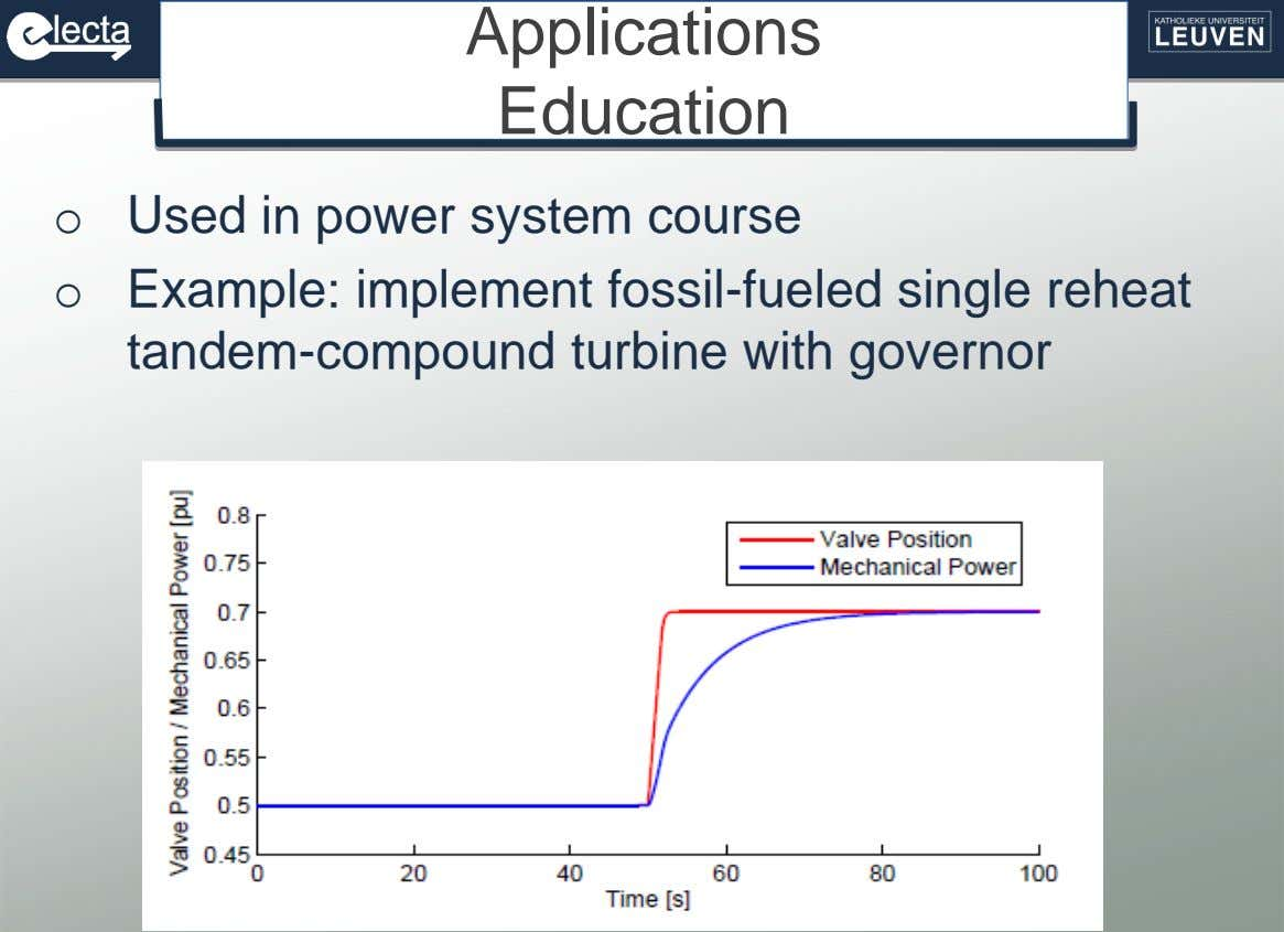 Applications Education o Used in power system course o Example: implement fossil-fueled single reheat