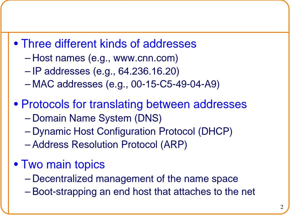 • Three different kinds of addresses – Host names (e.g., www.cnn.com) – IP addresses (e.g., 64.236.16.20)