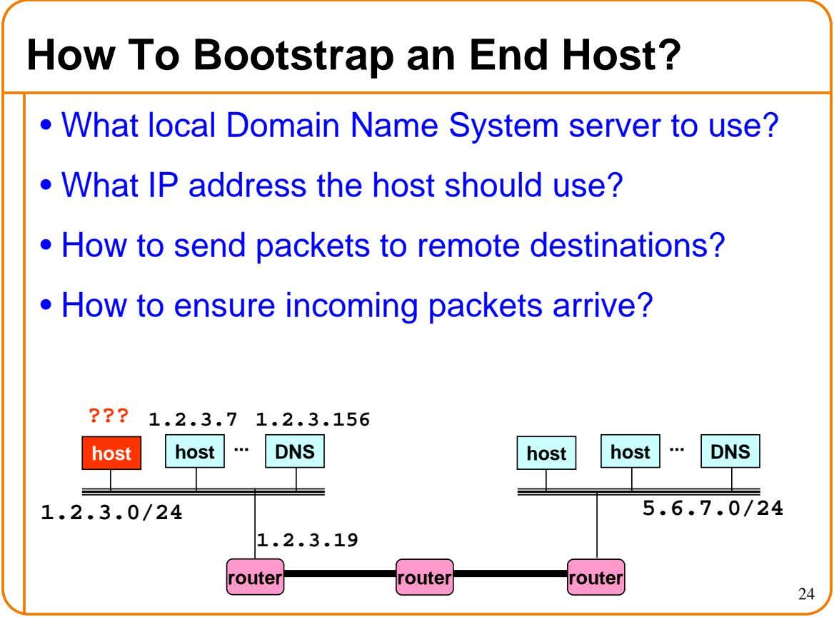 How To Bootstrap an End Host? • What local Domain Name System server to use? •