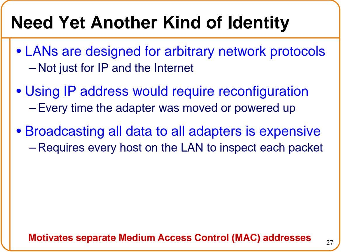 Need Yet Another Kind of Identity • LANs are designed for arbitrary network protocols – Not