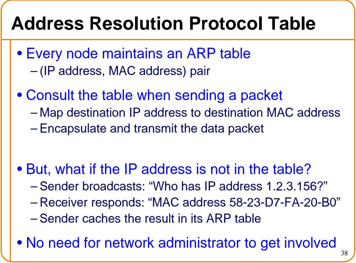 Address Resolution Protocol Table • Every node maintains an ARP table – (IP address, MAC address)