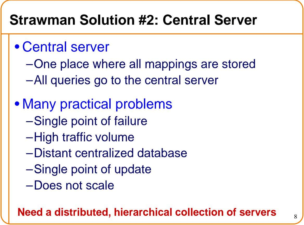 Strawman Solution #2: Central Server • Central server – One place where all mappings are stored