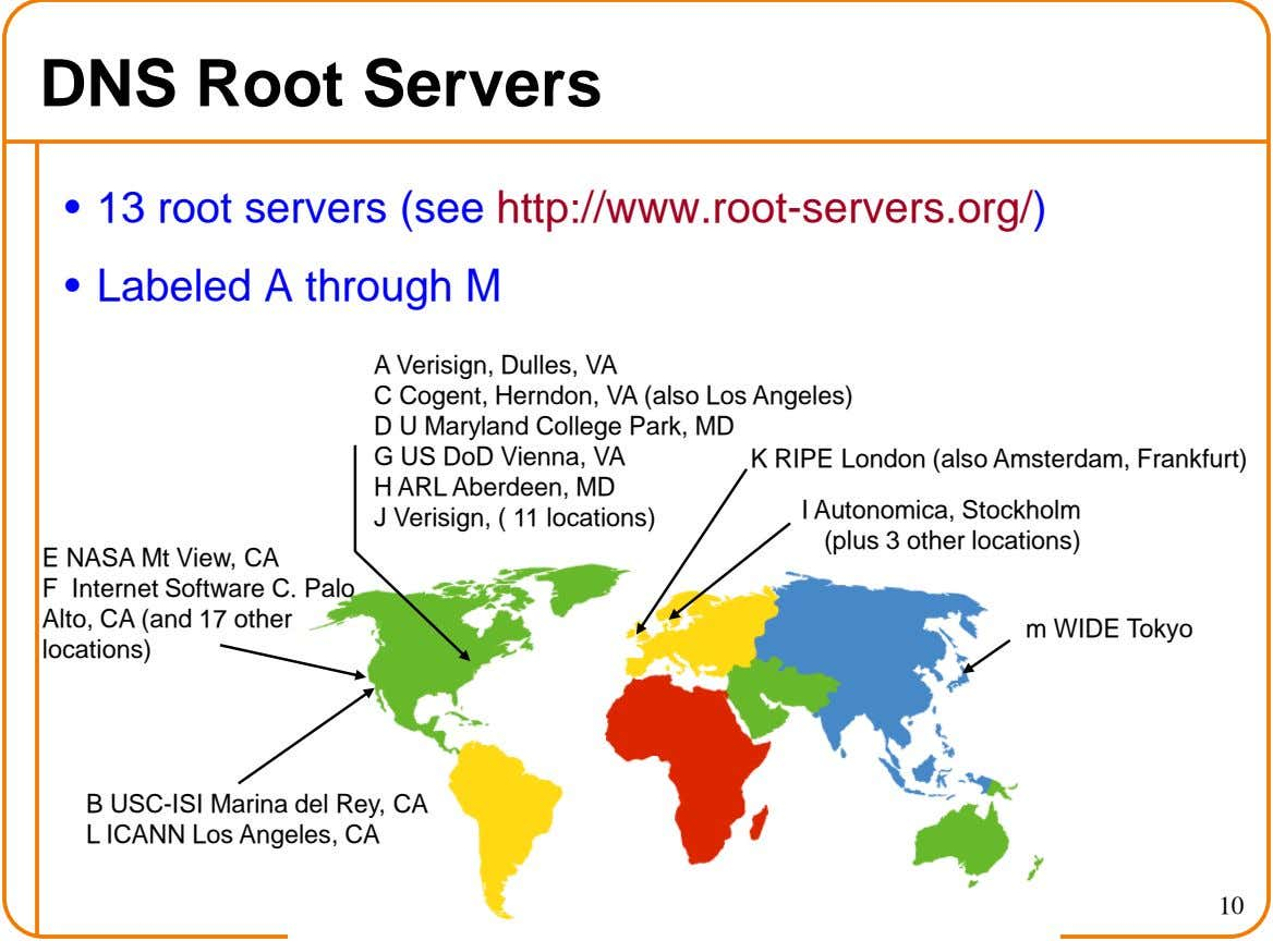 DNS Root Servers • 13 root servers (see http://www.root-servers.org/) • Labeled A through M A Verisign,