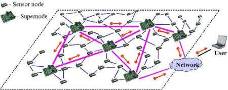 "resource-rich ""supernodes"", as illustrated in Figure 1. Fig. 1. Heterogeneous Wireless Sensor Networks. Sensor nodes"