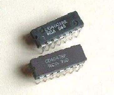 4000 series were manufactured by RCA around 1968 (Fig.23). Fig.23 RCA 4000 series CMOS IC These