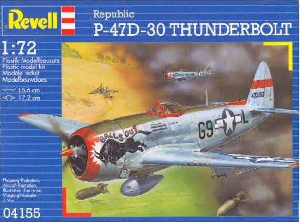 with open flaps. There is a space between each of the Revell's two 1/72-scale P-47 Thunderbolts