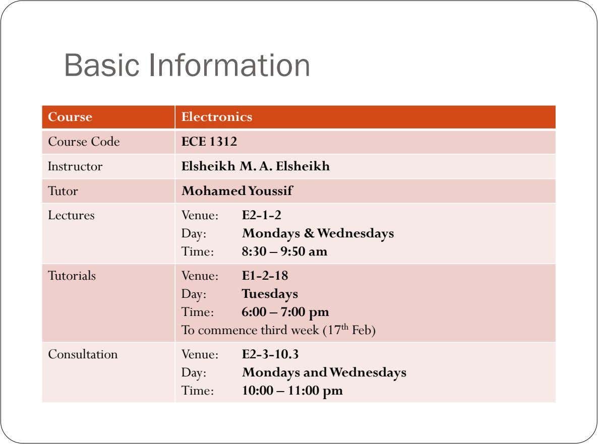 Basic Information Course Electronics Course Code Instructor Tutor ECE 1312 Elsheikh M. A. Elsheikh Mohamed Youssif