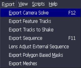 2-8, enable you to export image data from boujou 4.1. Figure 2-8: Export menu Tip Some