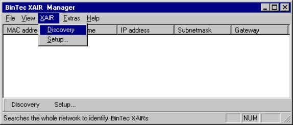 10 The Basic Configuration The following menu opens: Figure 10-2: The menu Discovery The BinTec XAir