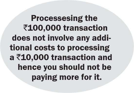 Processesing the ` 100,000 transaction does not involve any addi- tional costs to processing a