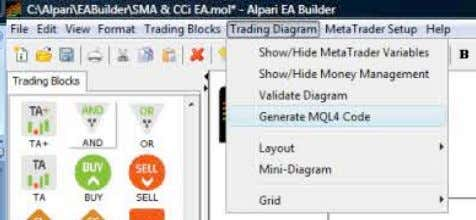 behind iCustom and the integration process. Generating the MQL code for MetaTrader Alpari EA Builder |