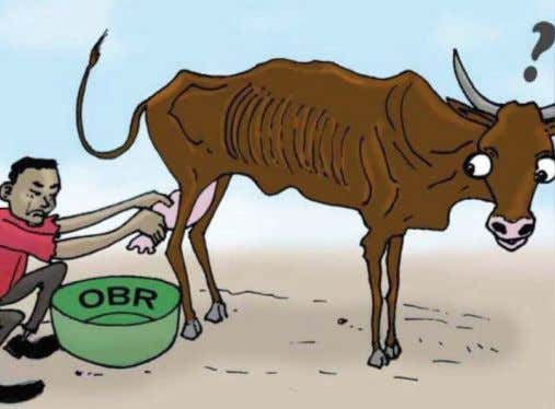 A cartoon in corruption watchdog Olucome's annual report over 2016, depicting citizens milked dry by