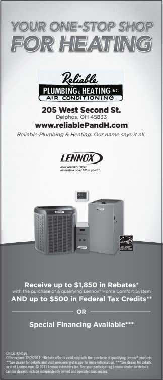 205 West Second St. Delphos, OH 45833 www.reliablePandH.com Reliable Plumbing & Heating. Our name says