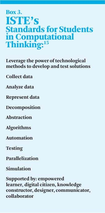 Box 3. ISTE's Standards for Students in Computational Thinking: 15 Leverage the power of technological