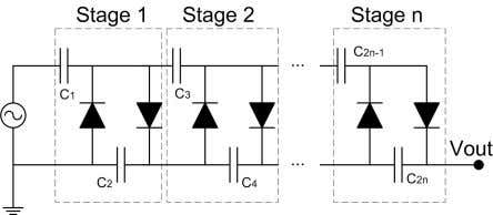 Fig. 1. Example of a HWCW voltage-multiplier Increasing the switching frequency is often problematic as