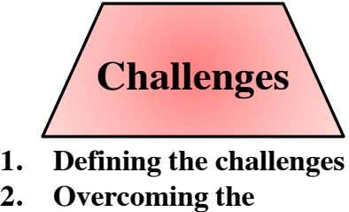 Challenges 1. Defining the challenges 2. Overcoming the