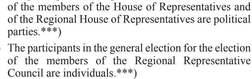 in the general election for the election of the members of the Regional Representative Council are