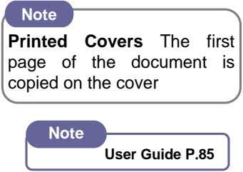 Note Printed Covers The first page of the document is copied on the cover Note