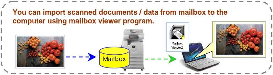 You can import scanned documents / data from mailbox to the computer using mailbox viewer