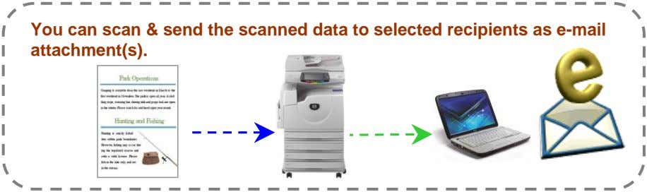 You can scan & send the scanned data to selected recipients as e-mail attachment(s).