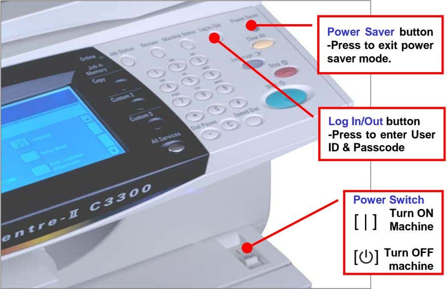Power Saver button -Press to exit power saver mode. Log In/Out button -Press to enter