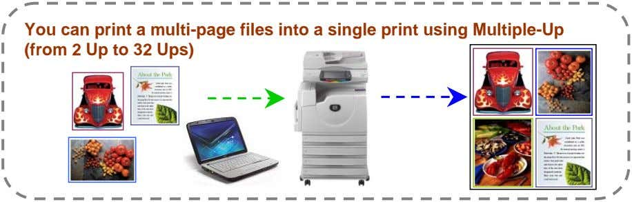 You can print a multi-page files into a single print using Multiple-Up (from 2 Up
