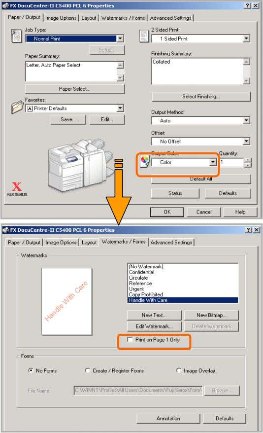 26 26 From your application, you can insert watermark. 1 From application, Select Printer – [Properties]