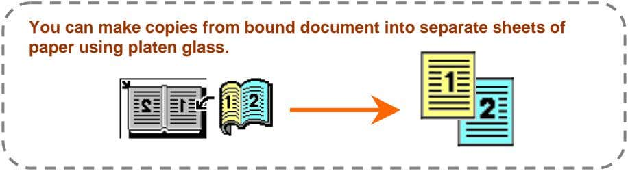 You can make copies from bound document into separate sheets of paper using platen glass.