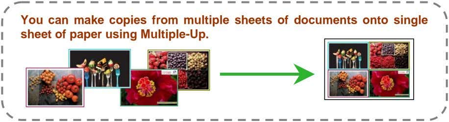 You can make copies from multiple sheets of documents onto single sheet of paper using