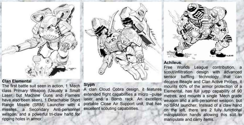 Achileus: Clan Elemental The first battle suit seen in action, 1 'Mech class Primary Weapon
